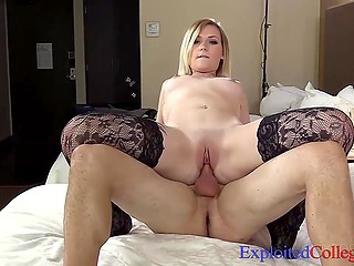 Adorable student in sexy stockings wants to become famous and that's why she fucks guy at the casting