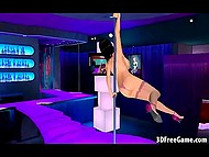 Animated stripper with huge knockers demonstrates how good she is at pole dancing in empty club 11