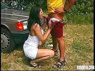 Babe went to forest with admirer to treat a bit her prurient pussy in classic porn video 4