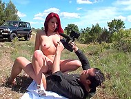 Lassie with bright red hair brought pal to secluded place to take his cock in mouth and pussy