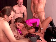 Busty yes-girl is doing well with five lusty men serving them alternately and asking for more 4