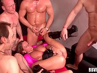Busty yes-girl is doing well with five lusty men serving them alternately and asking for more 6