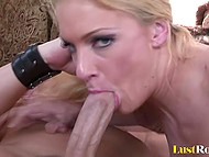 Blonde sexpot in fishnet stockings makes bald fucker sweat during furious intercourse 10