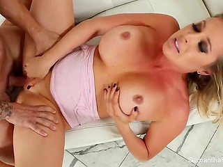 Muscled fitness coach banged incomparable Samantha Saint and erupted jizz over hefty bosoms