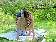 Beautiful Busty Buffy went outdoors with handsome admirer to give him her voluptuous body 5