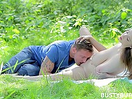 Beautiful Busty Buffy went outdoors with handsome admirer to give him her voluptuous body 6