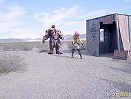 Mechanic Nikki Benz with massive balloons defeated monster and served stranger's pecker 3