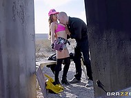 Mechanic Nikki Benz with massive balloons defeated monster and served stranger's pecker 4