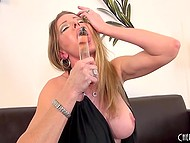 Big-tittied MILF rubbed smooth cunny with panties, fingers, and glass dildo to get maximum pleasure 11