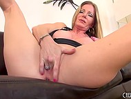 Big-tittied MILF rubbed smooth cunny with panties, fingers, and glass dildo to get maximum pleasure 4