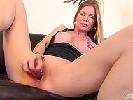 Big-tittied MILF rubbed smooth cunny with panties, fingers, and glass dildo to get maximum pleasure