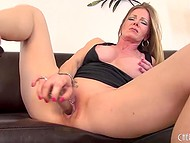 Big-tittied MILF rubbed smooth cunny with panties, fingers, and glass dildo to get maximum pleasure 7