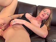 Big-tittied MILF rubbed smooth cunny with panties, fingers, and glass dildo to get maximum pleasure 8