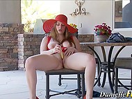 Black rambone was too big so busty babe with red hat took vibrator and continued to gratify pussy 7
