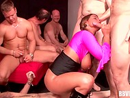 To pleasure group of men is not an easy task but it's piece of piss for big-boobied German 10