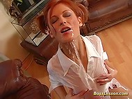 Redhead crazy slut allows her partner to do everything: penetrate her anal, shove cigarette in pussy, and other 11