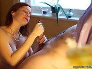 Long-haired woman in sexy panties gently sucks dick in the romantic environment 5