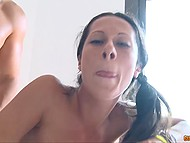 Slim Spanish with ponytails and huge tits enjoys getting fucked by muscular male 11