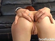 Red-haired Metal Kitty turned out to be a real whore who can be fucked in mouth roughly and double penetrated 8