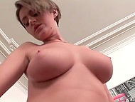 After lass with nice boobs rubbed pussy with dildo, two buddies stuffed both slots with firm cocks 6