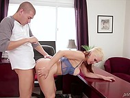 Business lady Sarah Vandella cheats on husband with employee who films the act on phone 4