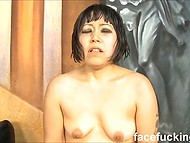 Insolent guys treat Japanese Yuka Ozaki like a dirty whore practicing rough facefucking and double penetration 9