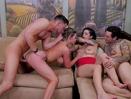 Tattooed dude and slick-haired buddy fuck Rachele Richey and Katrina Jade in great group sex