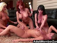 Four lonely housewives have meeting that ends with hot group fucking with the usage of sex toys 5