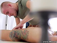 Horny client wants strong masseur to crumple not only her spine but also her shaved pussy 5
