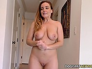 Coquette with juicy boobs seduced black pool cleaner and his massive phallus entered all of her holes 10