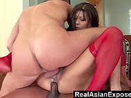 Filipina in red fishnet outfit likes to be used like a slut and men double penetrate her
