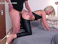 Various scenes with German MILF in bodystocking taking partner's cock into ass
