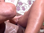 Male actively fucked uninhibited female while curly woman in black stockings was watching from aside 5