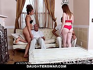 To receive the forgiveness, slutty beauties had to take a due care of their stepfathers in group sex act 6