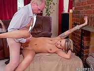 Old men were too hungry for sex and light-haired lass should empty their wrinkled balls 6