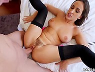 Busty goddess in black stockings gladly espouses herself to boyfriend providing him all her holes 4