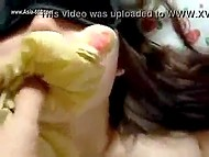 Man with camera nails Chinese girlfriend's hairy bush and uses her panties as a gag 9