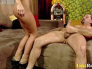 Long-legged doll allows man to attack her anal and also her lover's cock ejaculates on ass 5