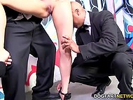 Gorgeous blonde having got at private party has to satisfy all Ebony guests with blowjobs 4