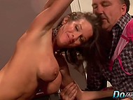 Eccentric old guy along with his friend are watching how his wife is getting satisfied by young lover 7