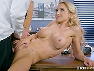 Blonde babe in ripped pantyhose stops her work because she has break for boss dick 11