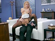 Blonde babe in ripped pantyhose stops her work because she has break for boss dick 4