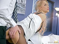 Blonde babe in ripped pantyhose stops her work because she has break for boss dick 8