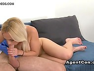 Light-haired babe in pink dress wanted to become a porn actress but she had to sleep with agent first 6