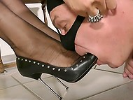 Elegant mistress reads magazine and forces masked man to lick and sniff high-heeled shoes 10