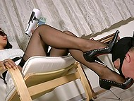 Elegant mistress reads magazine and forces masked man to lick and sniff high-heeled shoes 6