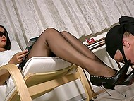 Elegant mistress reads magazine and forces masked man to lick and sniff high-heeled shoes 7