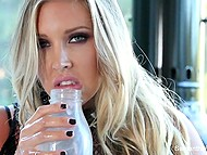 Amazing Samantha Saint drinks milk as kitty and masturbates her peach that makes her horny 11