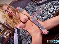 Inked blonde with big boobs is tired of loneliness and begins to saturate herself with fingers and dildo 9