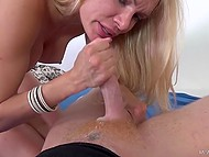 Hot Russian blonde with big tits is having sex with guy extracting all sperm from his dick in the end 11